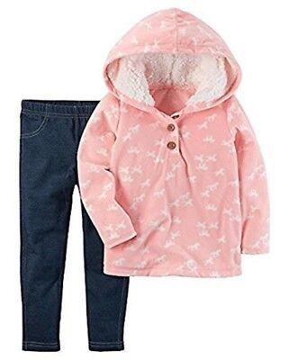 Carter's Baby Girl Pink Fleece Horse Hoodie & Navy Jeggings