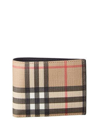 Burberry Vintage Check E-Canvas & Leather Bifold Wallet Men's Brown