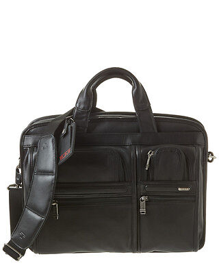 Tumi Alpha T-Pass Medium Screen Laptop Leather Brief Bag Black Leather NEW