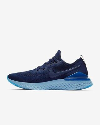 Mens Nike Epic React Flyknit 2.0 Running Shoe - SIZE UK 10 BLUE/INDIGO