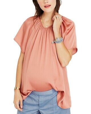 Hatch Maternity Women's THE CECILIA TOP Terracotta/Pink Size 1 (S/4-6) NEW