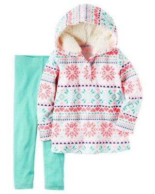 Carter's Baby Girl Fleece White Snowflake Hoodie & Aqua Legging 2pc Set NWT $24