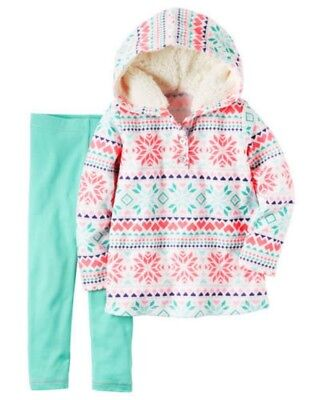 Carter's Baby Girl Fleece White Snowflake Hoodie & Aqua Legg