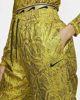 Nike sz  M Women's Python Nylon Jogger Pants NEW CJ6347 735 Yellow / Lt Brown