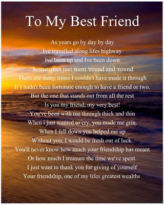 Personalised To My Best Friend Poem Birthday Christmas Gift Present ()