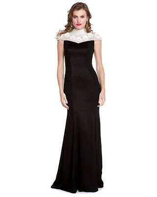 NWT $2190 Theia LUX High Mock pearl neck 3D flowers Tuxedo Black crepe dress 10