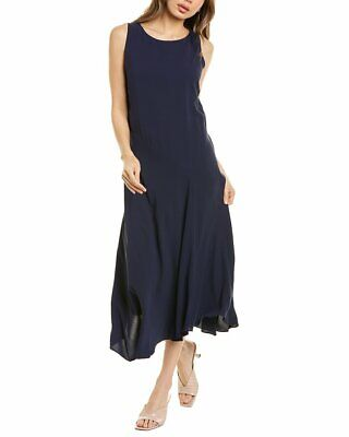 Eileen Fisher Bateau Neck Silk Maxi Dress Women's Clothing, Shoes & Accessories