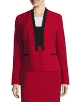 Black Contrast Trimmed Suit Jacket (Evan Picone Black Label LS Contrast Black Trim Blazer Suit Jacket in Fire Red )
