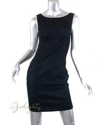 Hussein Chalayan X Mavi Size XS Black Navy Blue Denim Mesh Sleeveless Mini Dress