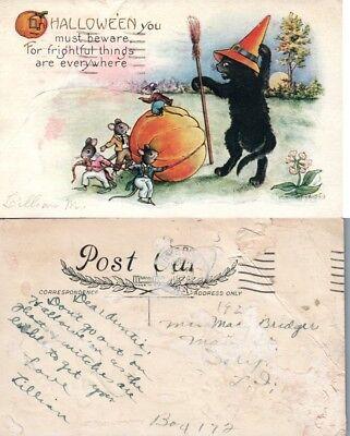 Antico Halloween Cartolina - Strega Gatto Nero W/ Topi