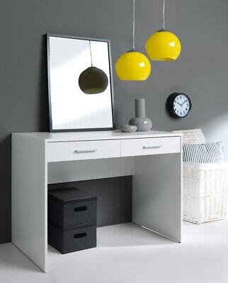 Modern White Home Study Office Desk 2 Drawer Unit Dressing Table 100cm Nepo