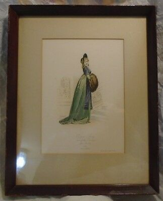 Nice Antique Colored Litho Parisian Lady 1798 After Boilly 14