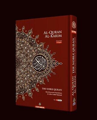 MEDIUM B5 Quran Maroon Word for Word Arabic English Translation Colour Tajweed