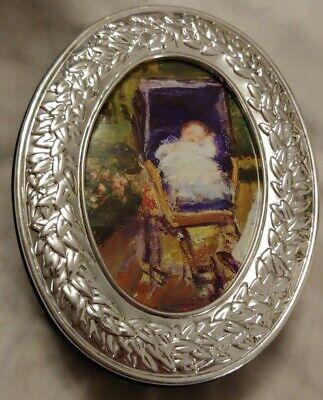 Oval Photo Frame Top Treasure Box Jewelry Box Inside Mirror Blue Velvet -