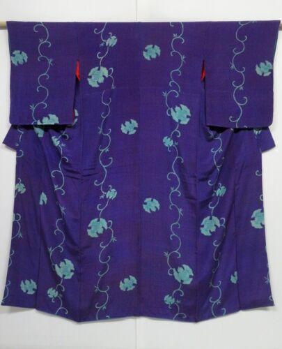 0304N05z640 Vintage Japanese Kimono Silk KOMON Blue-Purple Sparrow