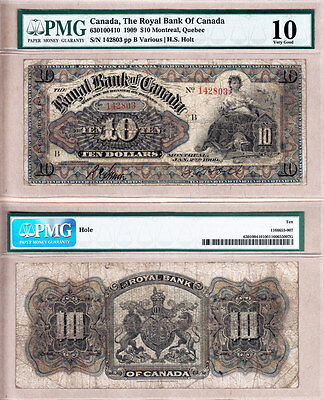 Very Rare 1909  10 Royal Bank Of Canada  Multi Coloured  630 10 04 10  Pmg Vg10