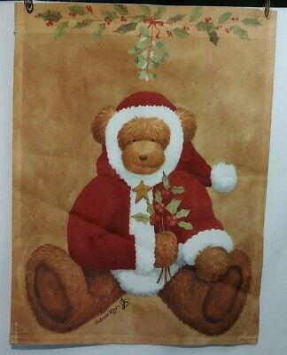 """Christmas Teddy Bear Garden Flag Signed Santa Suit 11"""" x 14.25"""" J S HomeStyle"""