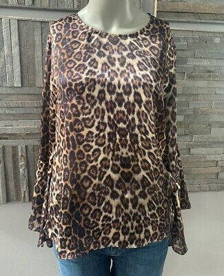 Generation Love Tiger Silk Blouse Bell Sleeve Size Small Silk Bell Sleeve