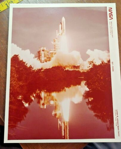 Vintage NASA Photo of Space Shuttle Take Off Reflection Off Water Free Shipping
