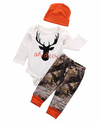 US Newborn Baby Boy Girl Deer Romper Wildlife Pants Hat 3pcs Outfits Set Clothes - White Girl Clothing