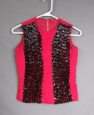 Vintage 1950s Red Satin Top Black Sequin Panels Costume Pin-up Glamour Hollywood ()
