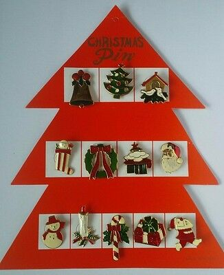 12 ASSORTED VINTAGE CHRISTMAS  PINS BROOCHES/christmas tree/snowman/xmas pin/