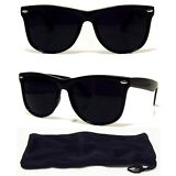 Dark BLACK Lens Sunglasses Vintage Retro Aviator Men Women Classic Frame Glasses