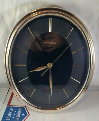 Vintage Overocean Oval Heirloom Quartz Brass Gold Black Wall Hanging Clock Round