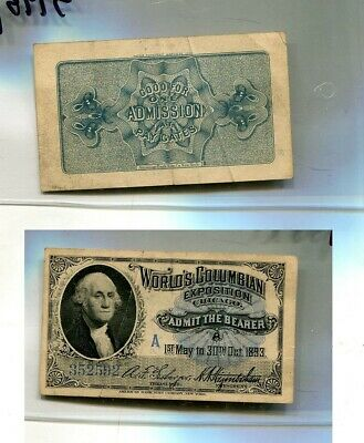 1893 WORLDS COLUMBIAN EXPOSITION TICKET A THOMAS JEFFERSON CIRCULATED 5795P