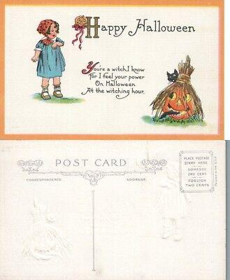 Antik Happy Halloween Postkarte - Girl W / Jack-O-Lanterns ()