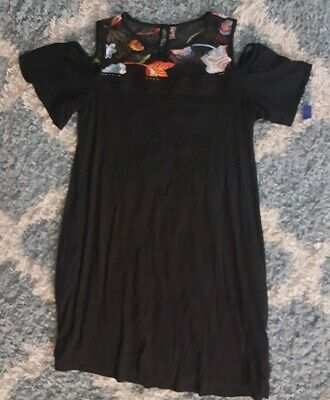 Apt 9*Women's Black Clod Shoulder Shift Dress*Size Large*NWT