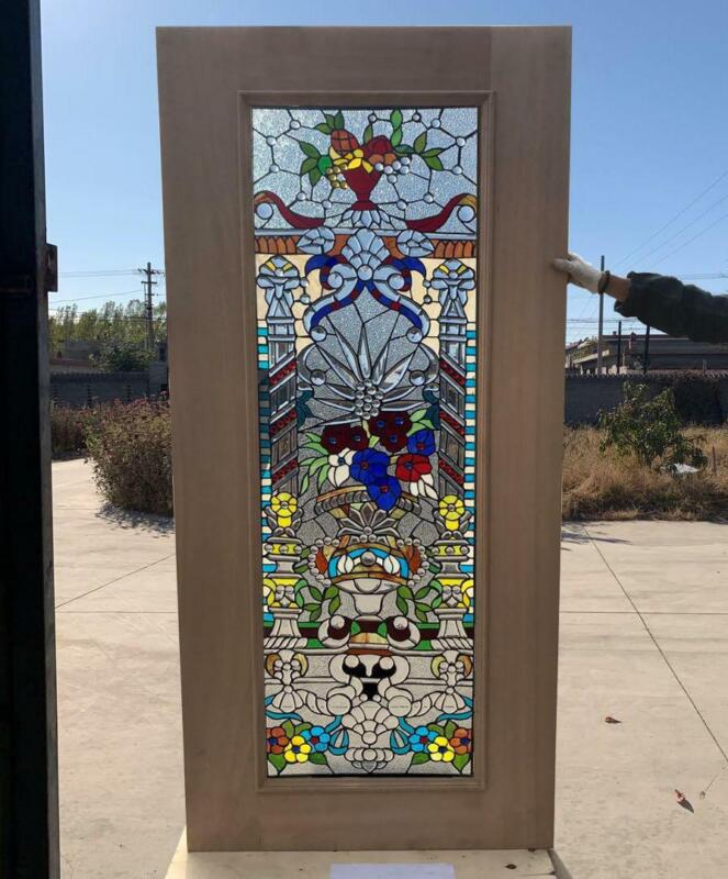 HAND MADE LEADED STAINED GLASS MAHOGANY ENTRY DOOR - JHL2167 - 69