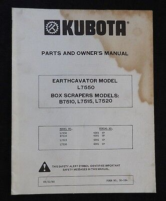 Kubota L7550 Earthcavator Tractor B7510 L7515 L7520 Box Scraper Ops Parts Manual