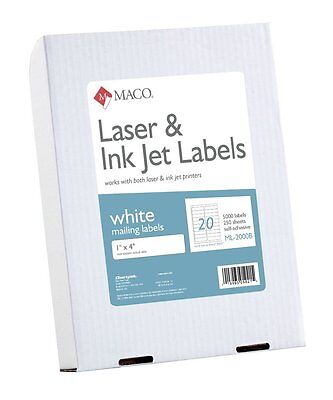 Maco Laserink Jet White Address Labels 1 X 4 Inches 20 Per Sheet Ml2000b