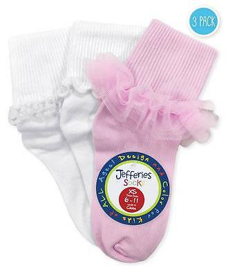 Jefferies Pink & White Ruffle Ripple Lace 3 Pack Socks Newborn Infant Toddler -