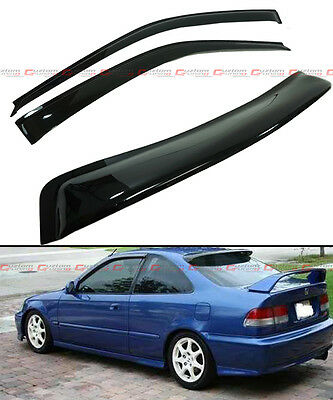 FOR 96-2000 HONDA CIVIC 2DR COUPE SMOKE Nautical aft ROOF WINDOW + SIDE DOOR VISOR COMBO