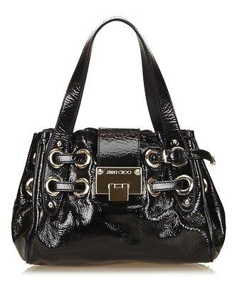 Jimmy Choo Womens Handbag Patent Black Designer Ramona Silver Tone RRP £1200