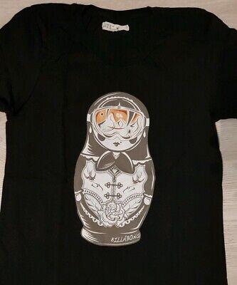 BILLABONG T-Shirt S 36 schwarz Damen Oberteil Shirt Matroschka Beach Skater - Billabong Shirt Schwarz