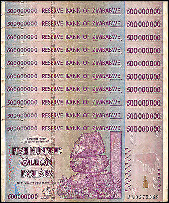 Zimbabwe 500 Million Dollars X 10 Pieces (PCS), AA/2008,Circulated,Used,Trillion