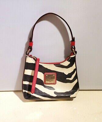 Vintage Dooney & Bourke Red Black White Zebra Leather Small Hand Bag Clutch Bag