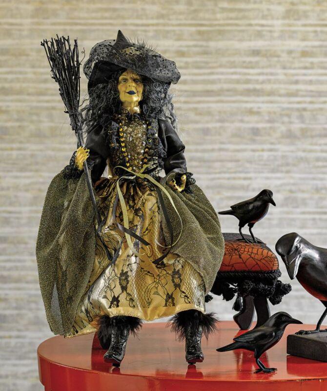 Broom-Hilda Witch Doll/Figure-Halloween Shelf Sitter Has Resin Face & Hands