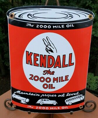VINTAGE KENDALL GASOLINE PORCELAIN GAS SERVICE STATION FORD CHEVY HARLEY OIL CAN