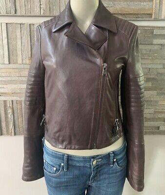 J Brand Leather Moto Jacket Size Small Deep Dark Purple Leather