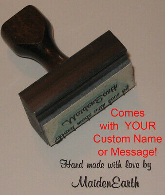 Hand Made With Love Rubber Stamp With Your Custom Name (Custom Hand Stamp)