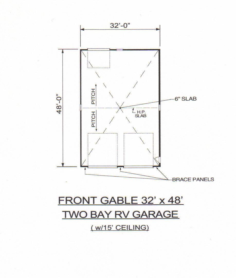 32x48 two bay fg rv garage 15 ft ceiling rear door for 14 ft wide garage door