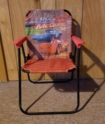 Kids Disney Pixar Cars Folding Lawn Chair (used) KING VS (Mcqueen Vs King)