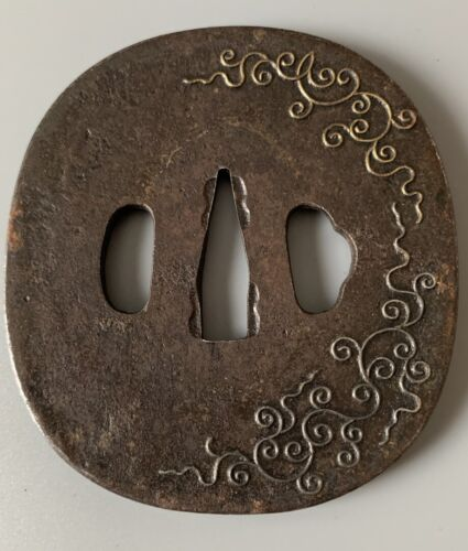 Japanese Iron Tsuba Gold Silver Scroll Design 18th-19th Century
