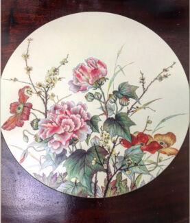 Set of six vintage botanical Pimpernel round Placemats