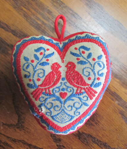 Vintage Embroidered heart shaped Pin Cushion with Love Birds & Daisies