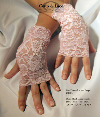 Pair of Fingerless Lace Gloves - Angel Pink - Pick your size](Pink Lace Gloves)